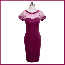 Wine Knee Length Sheath Marilyn Style Dress with Transparent Bodice Top image 3