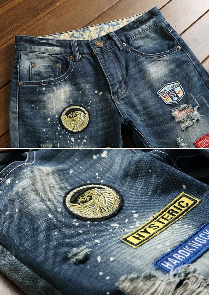 Men's Distinctive Badge Patch Hole Denim Jeans