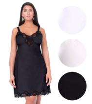 Illusion Women's Nylon Full Slip With Lace Trim Adjustable Straps Plus Size 1112 image 1