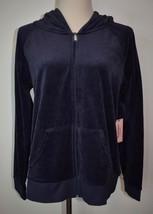 New Juicy Couture XL Hooded Sweatshirt Zip-Up Blue Velour Jacket Hoodie - $24.30