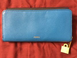 NWT Fossil Jori Blue Navy Leather Wallet Flap Clutch + 25% off your next... - $52.49