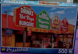 BRAND NEW FACTORY SEALED 500 Piece Puzzlebug Jigsaw Puzzle Fast Food Sta... - $6.92