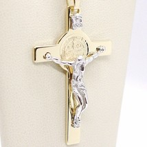 18K YELLOW WHITE GOLD CROSS, JESUS & SAINT BENEDICT MEDAL BIG 2.1 INCHES, ITALY  image 1