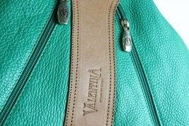 Gorgeous Valentina Green & Brown Leather Backpack Bag Purse Made Italy image 2