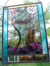 Stained Glass Window Customizable Stormy Tree  - $187.00