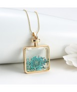 Stylish Vintage Blue Dried Flowers Transparent Glass Square Pendant With... - $17.80