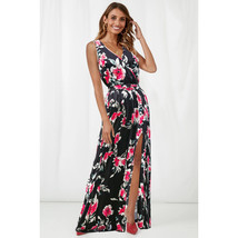 Sexy Long Women Beach Print Floral Skirts A Line Prom Party Gowns With S... - $25.44