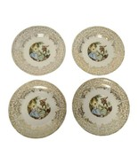 """Set of 4 Vintage Victorian Serenade 6"""" Saucer Gold Trim Unbranded  - $15.83"""