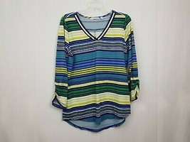 Notations Women's Blue Green Yellow Striped Top Shirt Size Small Stretch... - $7.84