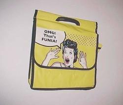 "OMG! That's FUNIA! Yellow Black Messenger Bi-Fold Bag 12"" x 14"" Polyuret... - $49.49"