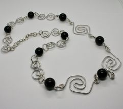 Necklace the Aluminium Long 88 Inch with Onyx Black Round image 4