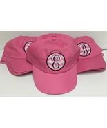 Pink Denim Cap Hat Monogrammed Adult One Size Velcro Adj. Various Initials - $8.99