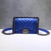 BNIB AUTHENTIC CHANEL ELECTRIC BLUE CHEVRON CALFSKIN SMALL BOY FLAP BAG RECEIPT