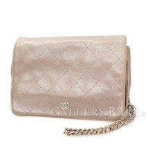 CHANEL WOC Metallic Pink Lambskin CC Logo Italy Chain Wallet Authentic 4... - $1,182.73