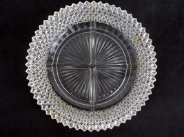 Vintage Imperial Anchor Hocking Etched Divided Glass Dish Round Star Burst - $14.85