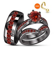 Round Red Garnet Wedding Black Gold Finish Trio His Her Bridal Engagemen... - $164.98