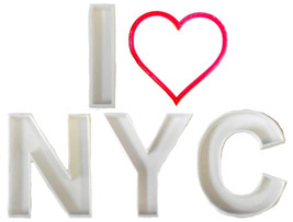 I Love NYC Heart New York City Trip Set Of 5 Cookie Cutters 3D Print USA... - $8.99