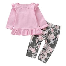 2pcs Merry Chirstmas Baby Girls Clothes Set Floral Print Long Sleeve Ruffle Tops image 1