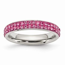 STAINLESS STEEL 4mm POLISHED PINK CRYSTAL RING -  SIZE 8 - $47.74