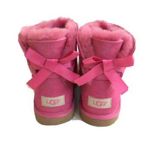 UGG MINI BAILEY BOW II PINK AZALEA KID YOUTH US 5 - fit Women US 7 / EU 38 /UK 5 - $92.57