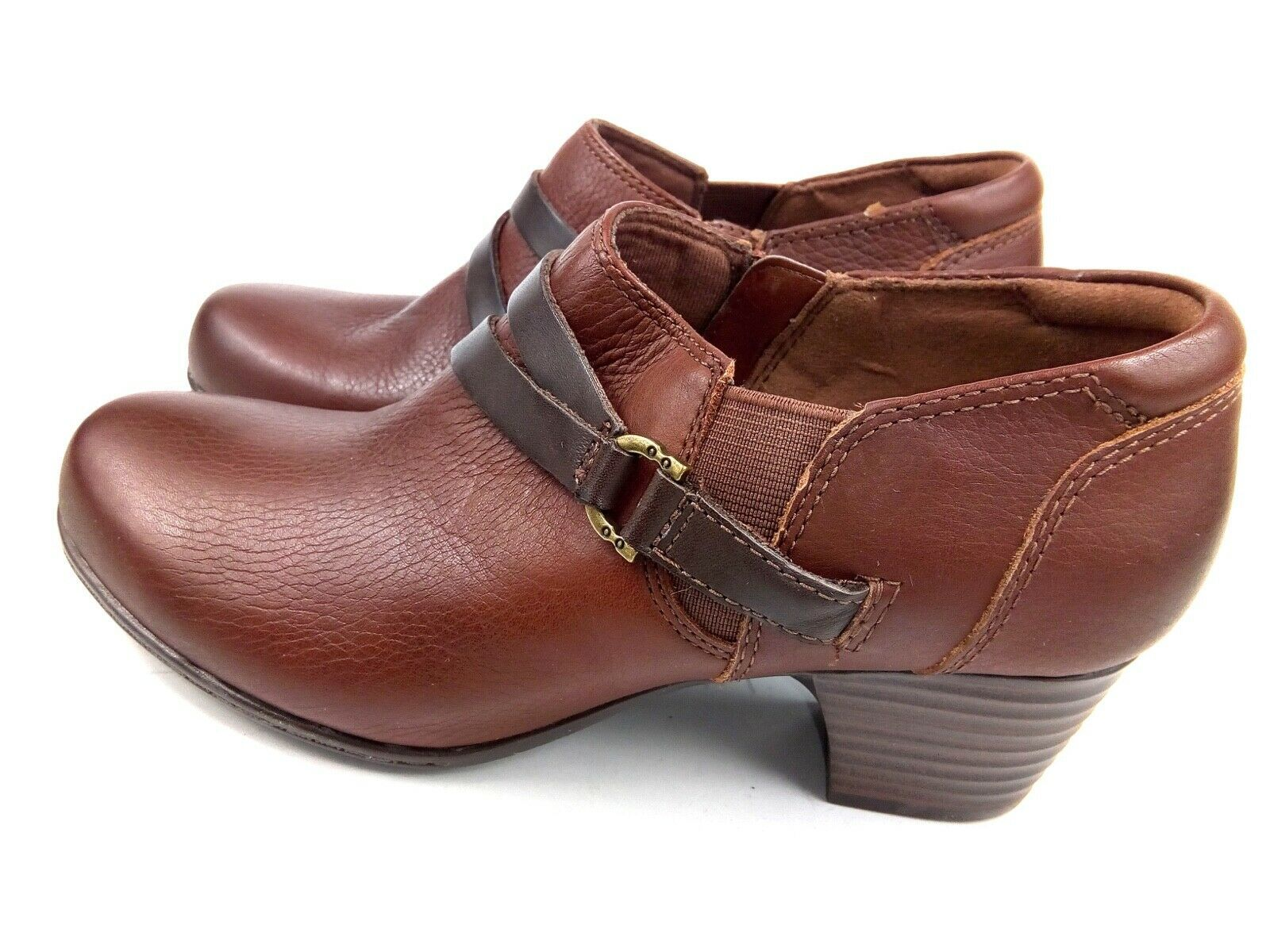 Clarks Women's Booties Collection Soft Cushion Brown Leather Ankle Boots Sz 6 image 5