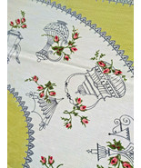 Darling Vintage STARTEX Rosebud and Teapot Graphic Cotton Tablecloth PIN... - $24.00