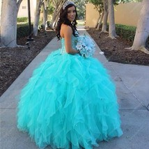 Turquoise Strapless Beaded Bodice Floor Length Ruffle Wedding Dress - $310.00