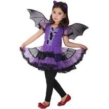 Bat Girl Costume Children Kids Cosplay Dress Wings Cloak Halloween Chris... - $21.46