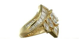 Vintage Ladies Size 6 Gold Plated Sterling Silver CZ Fashion Ring No. 2144 image 6