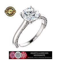 2.00 Carat (8mm) Round Moissanite Solitaire Ring (Hearts & Arrows) - $599.00
