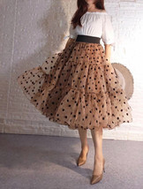 Emerald Green Polka Dot Tulle Skirt A-line Emerald Green Tulle Midi Skirt Outfit image 10