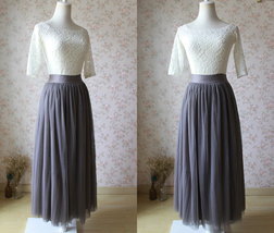 PLUS SIZE Gray Full Long Tulle Skirt Adult Gray Wedding Bridesmaid Skirt Dress
