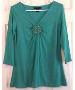 Style & Co Rayon Top V-Neck Beaded Rosette Embellishment Turquoise Green... - $9.85