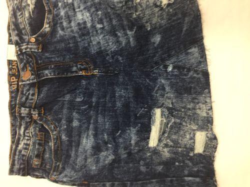 Vip Jeans Acid Wash Skirt Above Knee Regular Fit   Blue Cotton Size 11/12 image 3