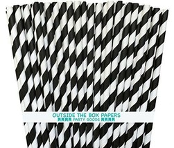 Striped Paper Straws - Black White - 7.75 Inches - Pack of 100 - Outside... - $20.37 CAD