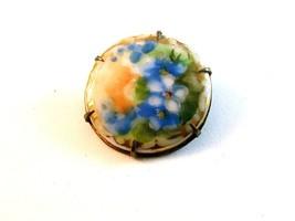 Vintage Miniature Hand Painted Blue Flowers Brooch - $34.99