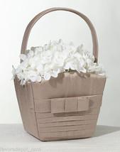 Pleated Taupe or White Flower Basket Flower Girl Basket Wedding Basket - $11.95