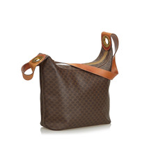 Pre-Loved Celine Brown PVC Plastic Macadam Shoulder Bag Italy - $316.97