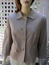 EXPRESS Caramel Brown/Ivory Houndstooth 3/4 Sleeve Stretch Cotton Jacket... - $39.10