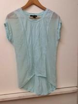 Womens Forever 21 Contemporary Light Blue Basic Shirt Sheer Panel Size S... - $12.95