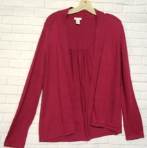 Chico's Size 1 Magenta Silk Blend Open Front Gathered Back Cardigan  Sweater - $18.49