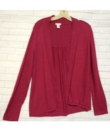 Chico's Size 1 Magenta Silk Blend Open Front Gathered Back Cardigan  Swe... - $12.53