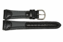 19MM Black Gray Padded Genuine Leather Stitched Watch Band Strap - $12.38