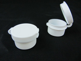 250 Cosmetic Containers Wholesale Plastic Hinged Jars 5 Gram 5 ml White ... - $71.95