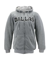 Men's Dallas Embroidered Sherpa Lined Warm Zip Up Fleece Hoodie Sweater Jacket image 2