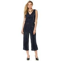 Wendy Williams Sleeveless Pleated Knit V-Neck Jumpsuit Navy Sz M - $9.89