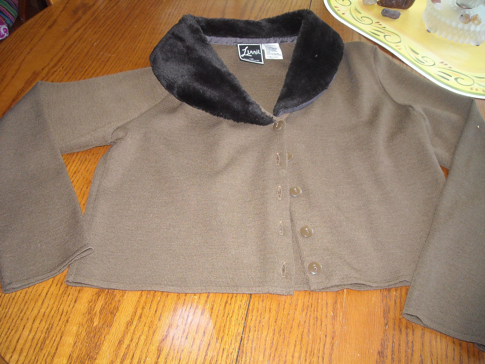 Women LENNIE Nina Leonard Cropped Sweater With Faux Fur Collar Brown (M) Acrylic
