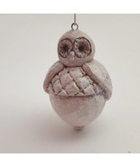 Round Resin White Glittered Owl Ornament - $7.92
