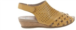 Earth Leather Perforated Wedge Sandals- Pisa Galli Amber Yellow 8W NEW A... - $63.34