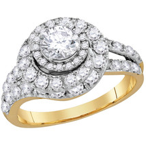 14k Yellow Gold Certified Round Diamond Engagement Bridal Wedding Ring 2.00 Cttw - £3,195.48 GBP